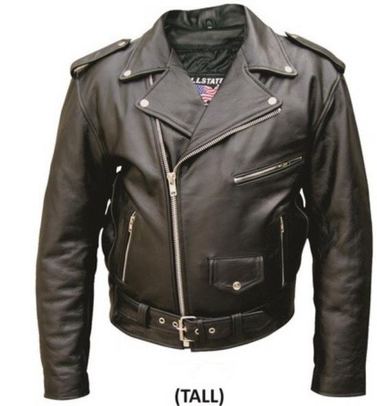 Men's Tall Leather Motorcycle Jacket - Up To Size 66 - Biker Jacket - AL2017TALL-AL