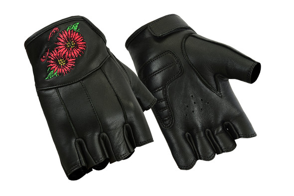 Women's Fingerless Leather Motorcycle Gloves With Embroidered Flowers - DS36-DS