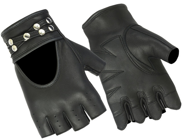 Women's Fingerless Leather Motorcycle Gloves With Studs Design - DS85-DS