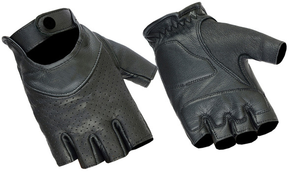Women's Perforated Fingerless Leather Motorcycle Gloves - DS8-DS