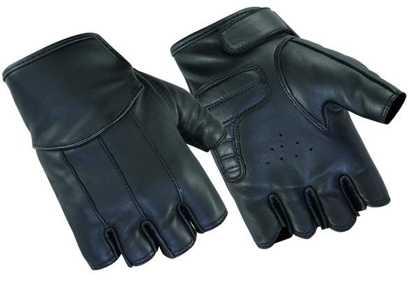Women's Tough Deer Skin Leather Motorcycle Gloves - Fingerless - DS3-DS