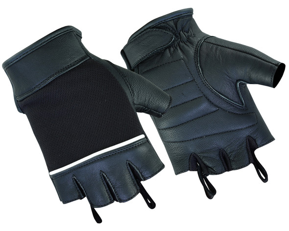 Women's Mesh and Leather Motorcycle Gloves - Fingerless - DS4-DS