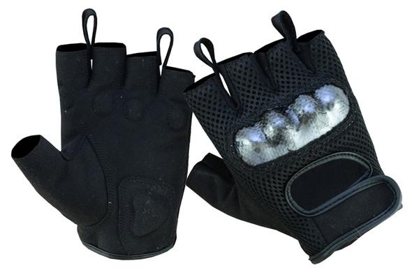 Men's Mesh Motorcycle Gloves With Hard Knuckles - Biker Gloves - Fingerless - DS19-DS