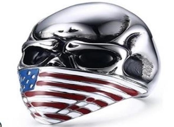USA Flag Face Skull Biker Ring - Stainless Steel - Biker Jewelry - Biker Ring - R165-DS