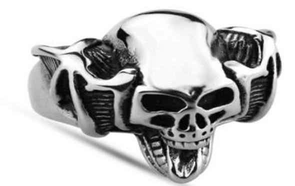 Handle Bar Skull Biker Ring - Stainless Steel - Biker Jewelry - Biker Ring - R128-DS