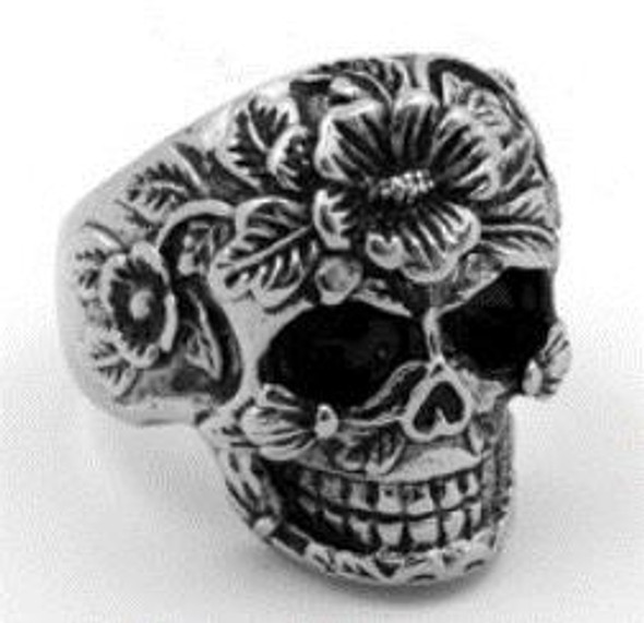 Flower Face Sugar Skull Biker Ring - Stainless Steel - Biker Jewelry - Biker Ring - R111-DS