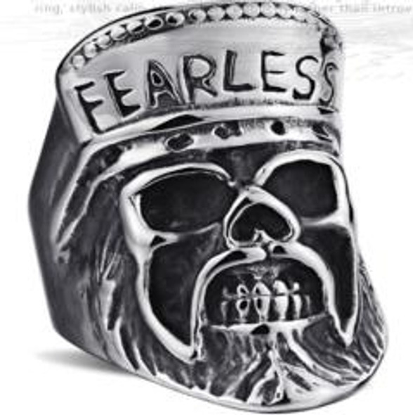 Fearless Skull Biker Ring - Stainless Steel - Biker Jewelry - Biker Ring - R110-DS