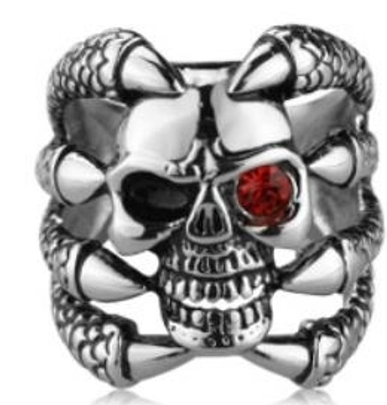 Claw Face Skull Biker Ring - Stainless Steel - Biker Jewelry - Biker Ring - R112-DS