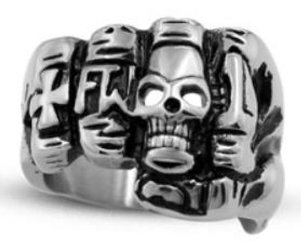 Fist Face Skull Biker Ring - Stainless Steel - Biker Jewelry - Biker Ring - R119-DS
