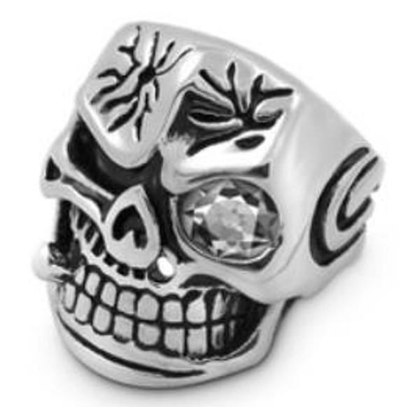 Smash Face Skull Biker Ring - Stainless Steel - Biker Jewelry - Biker Ring - R117-DS
