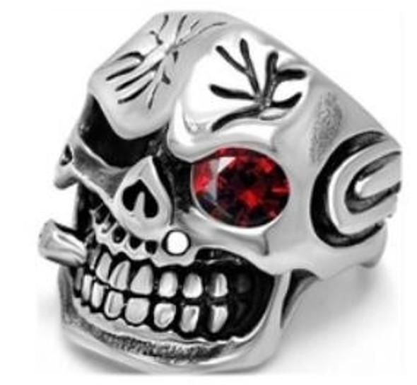 Observe Skull Biker Ring - Stainless Steel - Biker Jewelry - Biker Ring - R134-DS