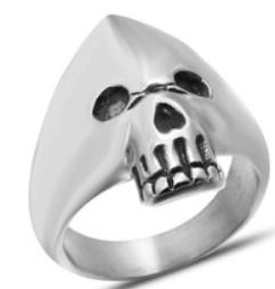 Hooded Skull Biker Ring - Stainless Steel - Biker Jewelry - Biker Ring - R130-DS