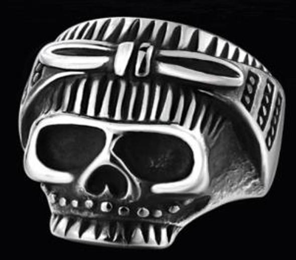 Biker Chick Skull Biker Ring - Stainless Steel - Biker Jewelry - Biker Ring - R147-DS
