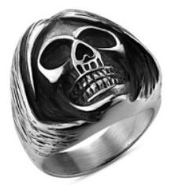 Sleepy Head Skull Biker Ring - Stainless Steel - Biker Jewelry - Biker Ring - R139-DS
