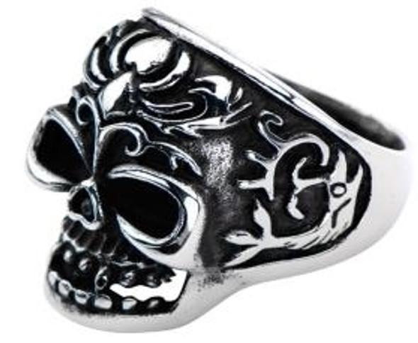 Fish Tail Skull Biker Ring - Stainless Steel - Biker Jewelry - Biker Ring - R145-DS.