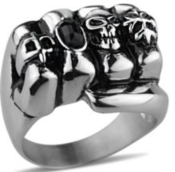 Fistful Of Rings Biker Ring - Stainless Steel - Biker Jewelry - Biker Ring - R153-DS