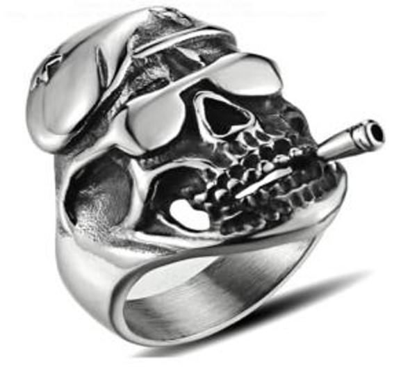 Cruiser Skull Biker Ring - Stainless Steel - Biker Jewelry - Biker Ring - R166-DS