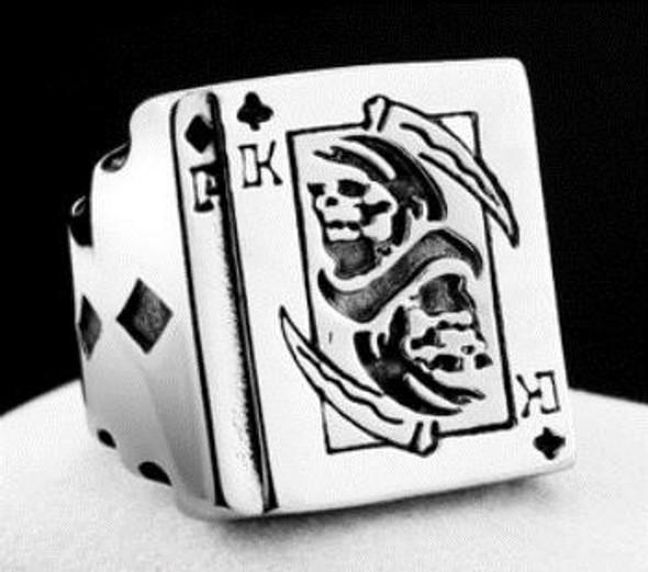 King Of Clubs Skull Biker Ring - Stainless Steel - Biker Jewelry - Biker Ring - R157-DS