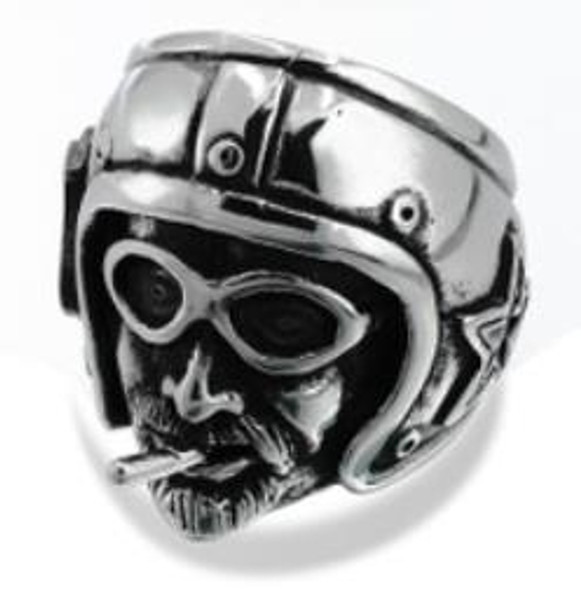 Ride Pilot Biker Ring - Stainless Steel - Biker Jewelry - Biker Ring - R162-DS