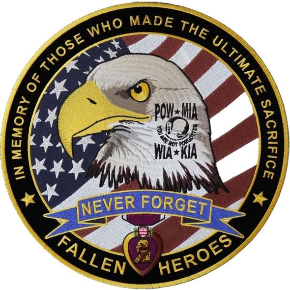 Fallen Heroes POW MIA WIA KIA Memorial Patch - Large Vest Patch - PL6566-DS