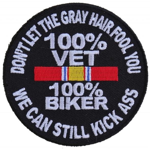 100 Percent Vet Biker Patch - Vest Patch - Jacket Patch - P5010-DS