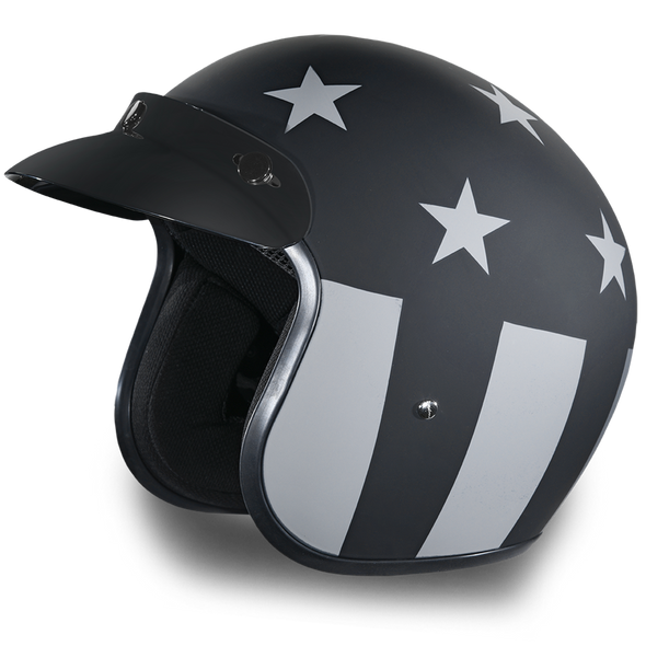 DOT Daytona Cruiser Captain America Stealth Open Face Motorcycle Helmet - DC6-CAS-DH