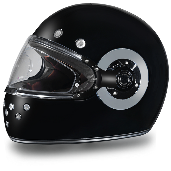 DOT Motorcycle Helmet - Retro Hi Gloss Black - Full Face - Chrome Accents - R1-A-DH