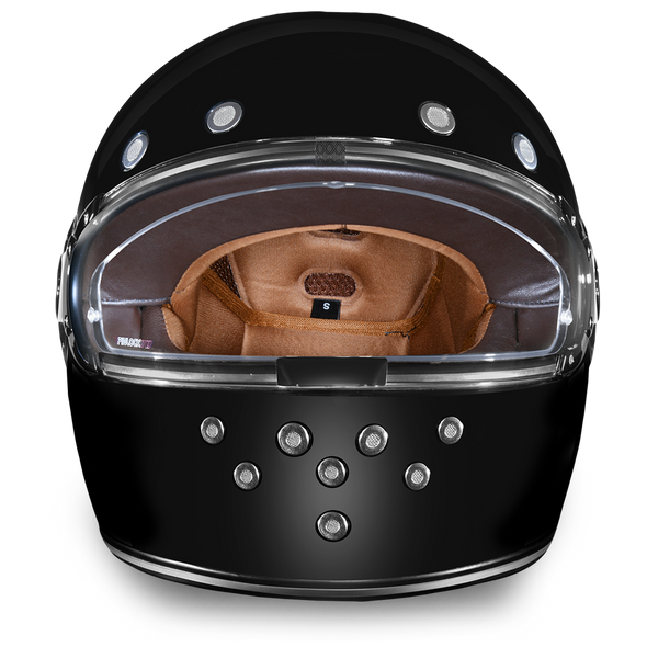 Full Face Motorcycle Helmet - Retro Hi Gloss Black With Chrome Accents - R1-A-DH