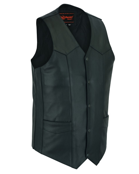 Leather Motorcycle Vest - Men's - Up To Size 6XL - Big and Tall - DS162-TALL-DS