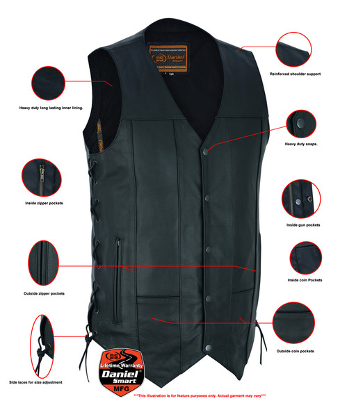 Leather Motorcycle Vest - Men's - Up To Size 5XL - Side Laces - 10 Pocket - Big and Tall - DS144-TALL-DS