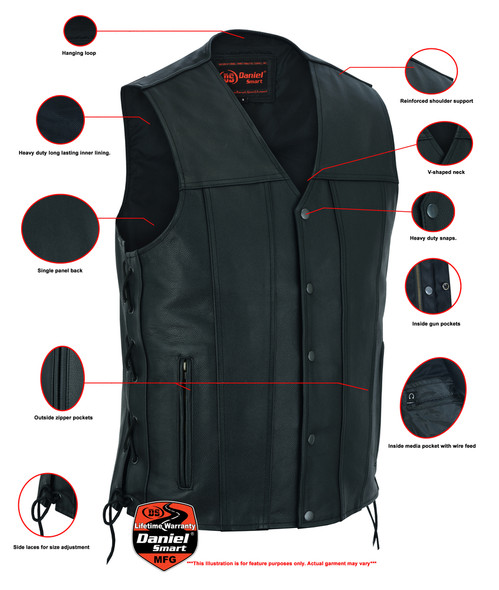 Men's Tall Leather Motorcycle Vest With Tapered Bottom - Big and Tall - DS161-TALL-DS