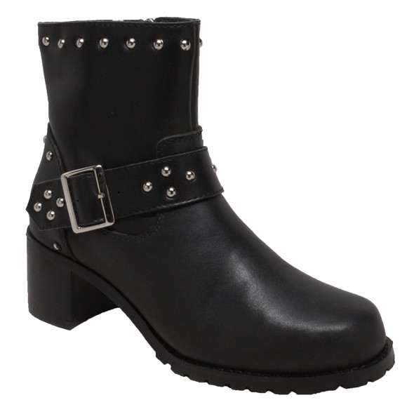 Women's Black Leather Buckle Motorcycle Boots With Studs - Biker Boots - 8811M-DS