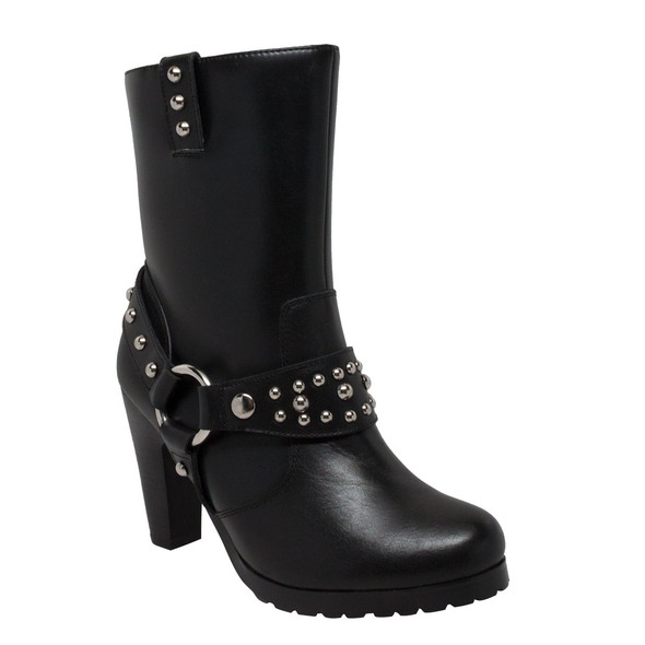 Women's Black Leather Heeled Harness Motorcycle Boots With Studs - Biker Boots - 8546-DS