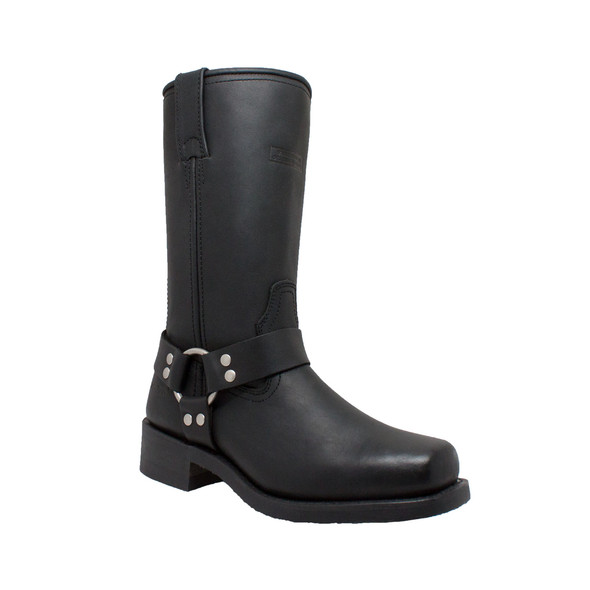 """Women's Black Leather 12"""" Harness Motorcycle Boots - Biker Boots - 2442-DS"""