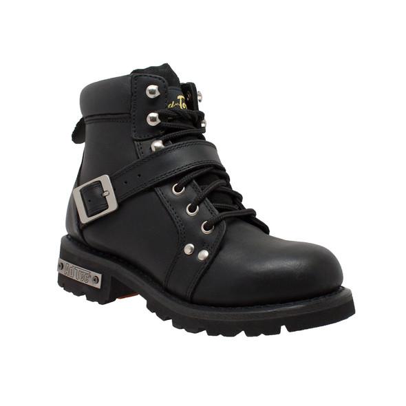 Women's Black Leather YKK Zipper Motorcycle Boots - Biker Boots - 8143-DS
