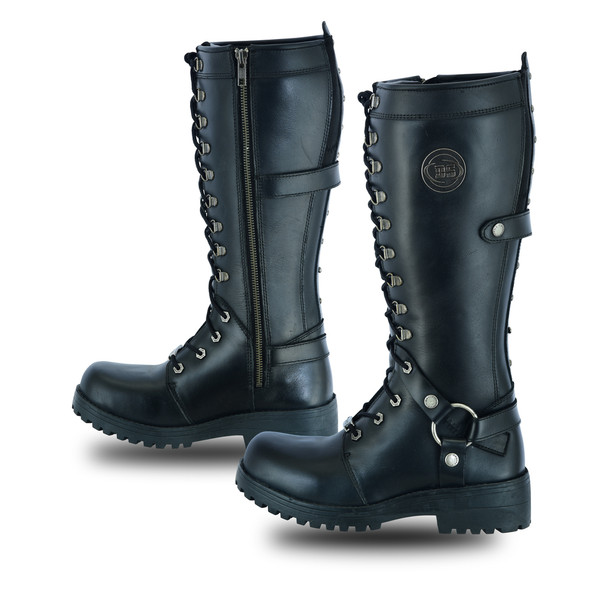 """Women's Black Leather 15"""" Harness Motorcycle Boots - Biker Boots - DS9765-DS"""