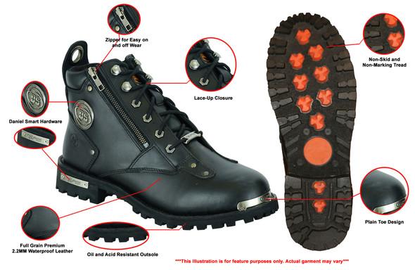 Men's Black 6 Inch Motorcycle Boots - Side Zipper - Plain Toe - DS9730-DS