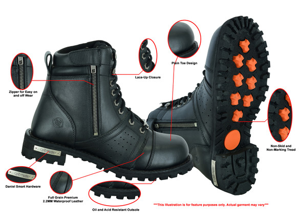 Men's Black 6 Inch Motorcycle Boots - Perforated - Medium or Wide - Side Zipper - Plain Toe - DS9731-DS
