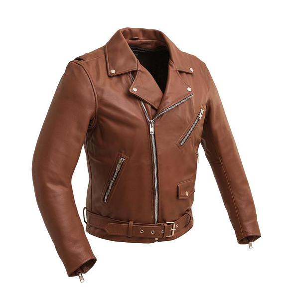 Men's Whiskey Brown Leather Motorcycle Jacket - Armor Pockets - Fillmore - FIM208CDLZ-WB-FM