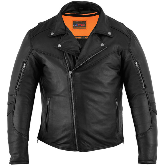 Men's Leather Biker Jacket - Modern - Longer - Beltless - DS794-DS