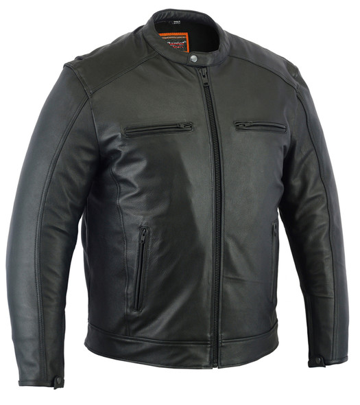 Men's Leather Cruiser Jacket - Concealed Carry Gun Pockets - DS735-DS. Up To Size 6XL