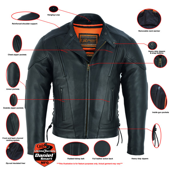 Men's Leather Motorcycle Jacket - Side Laces - Ventilated - Gun Pockets - DS777-DS