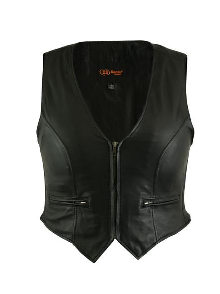Women's Stylish Light Weight Zipper Leather Vest - Motorcycle Vest - DS238-DS