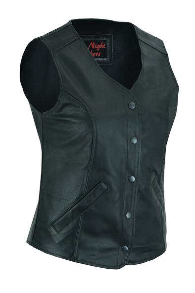 Women's Longer Body 3/4 Leather Vest - Plain Sides - Motorcycle- DS204-DS