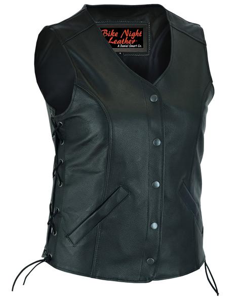Women's Longer Body 3/4 Leather Vest - Side Laces - Gun Pockets - DS206-DS
