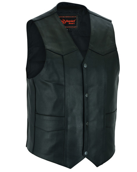 Leather Motorcycle Vest - Men's - Gun Pockets - Up To 9XL - DS110-DS