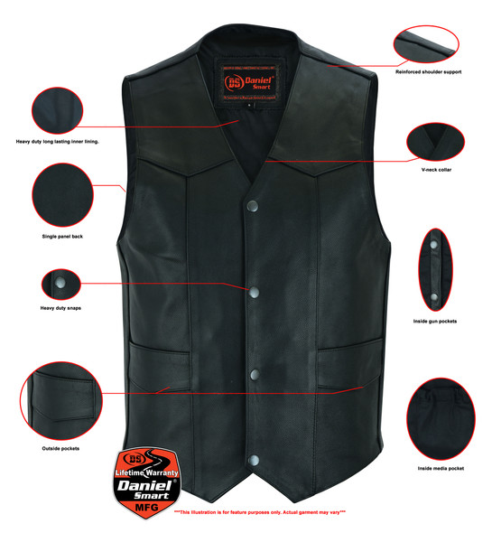 Men's Leather Motorcycle Vest With Gun Pockets - Up To 9XL - DS110-DS