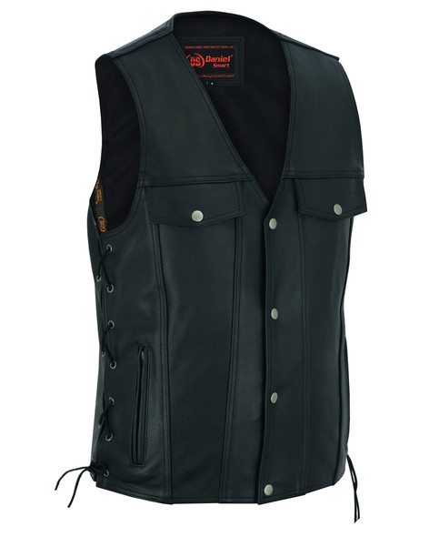 Leather Motorcycle Vest - Men's - Gun Pockets - Up To 10XL - DS124-DS