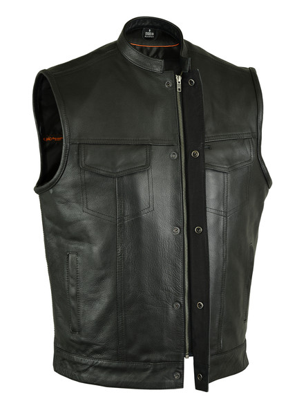 Men's Leather Motorcycle Vest With Gun Pockets - Up To 12XL - RC189A-DS