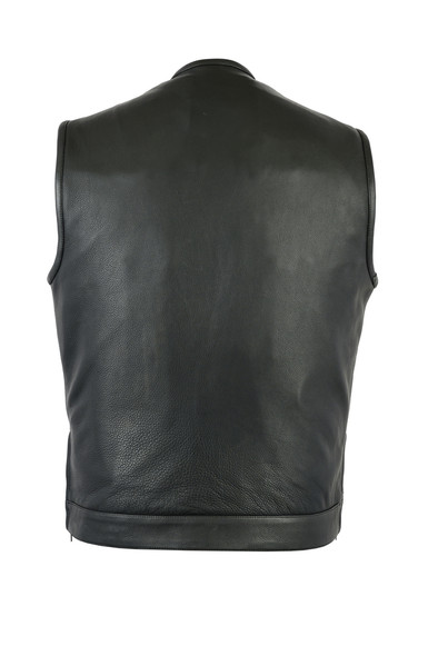 """Men's Leather Motorcycle Vest With Gun Pockets - 10"""" Zipper - Up To 12XL - RC187-DS"""